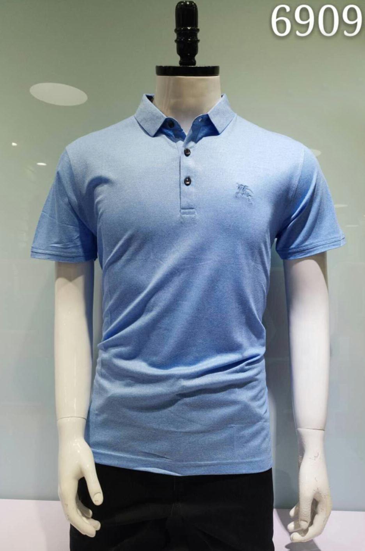 0e380fef1af4 Мужская футболка поло светло синего цвета BURBERRY классическая однотонная  большие размеры