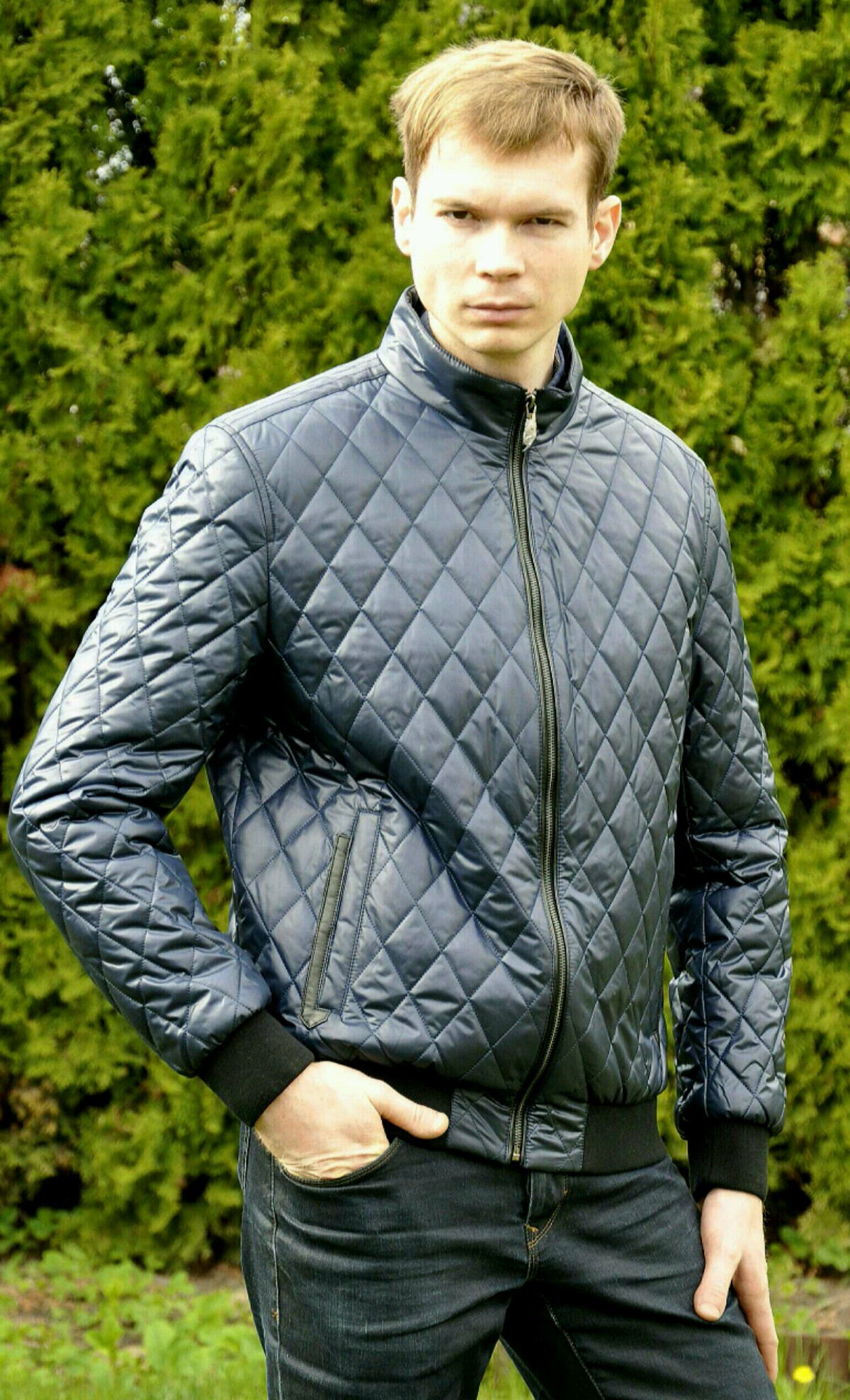 Мужская весенняя   осенняя куртка City Savani синяя под резинку типа  американская летная или бомбер простеганная f8ef8bee0d2c7