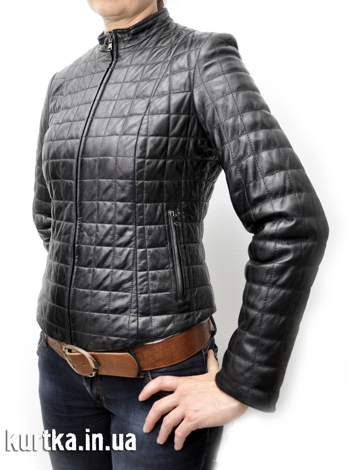Куртка женская кожаная Kraken простроченная квадратиками корсет ... cd7c1f43adadb