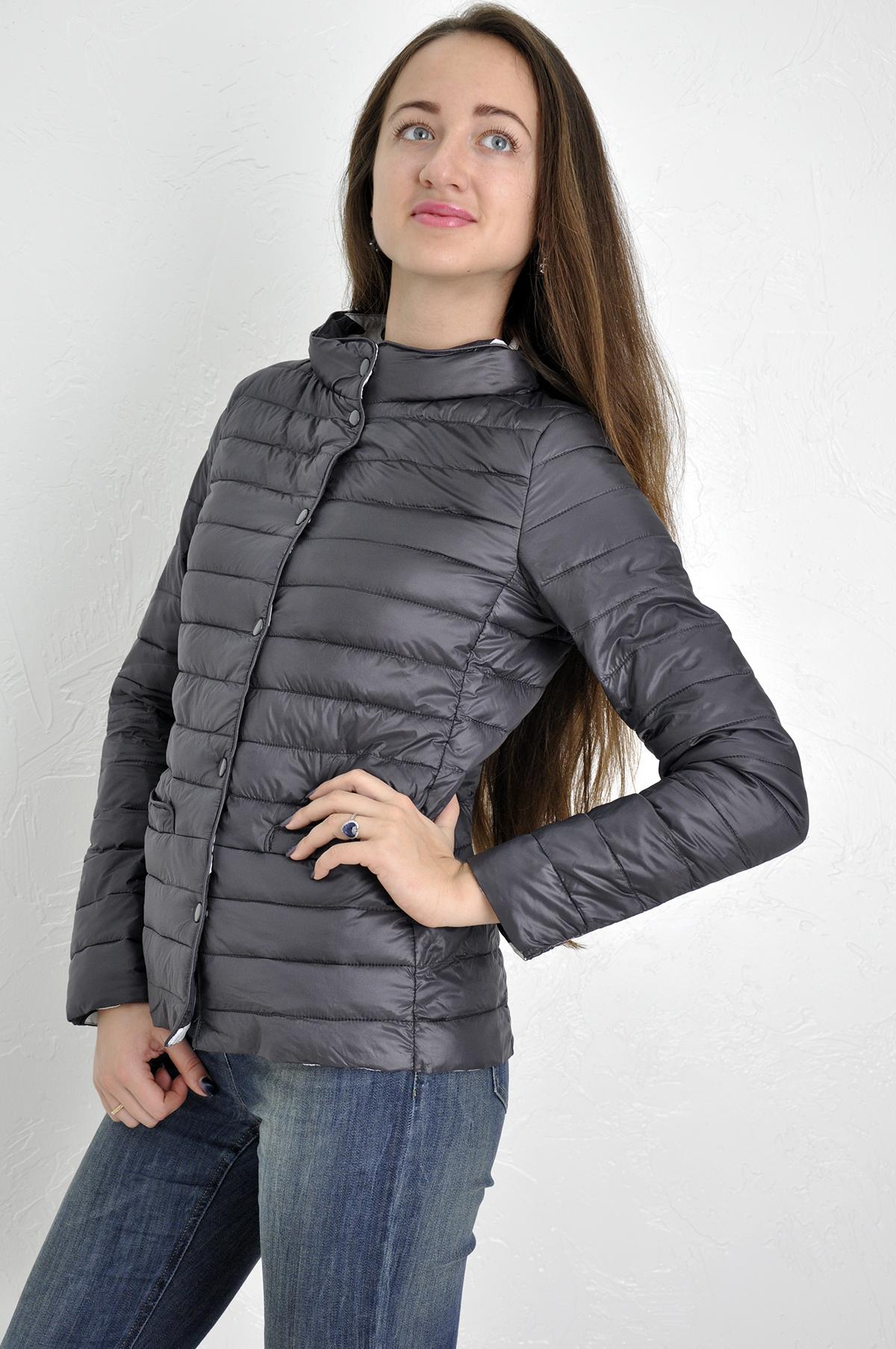 2a858ebc746 ... Куртка женская Money For You короткая стойка воротник с подкладкой с  цветочками простроченая демисезонная ...