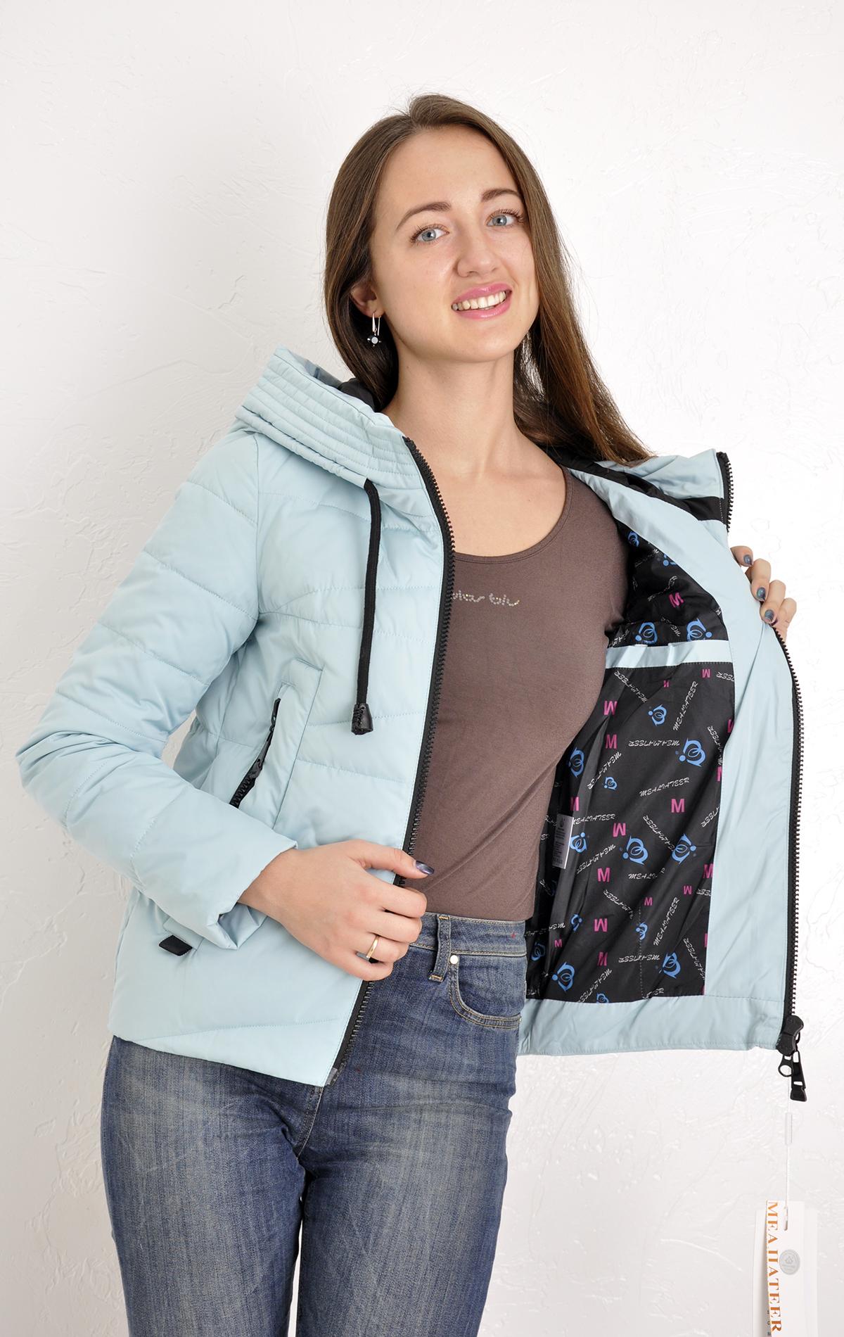 a9580c9b0fa Куртка женская Meajiateer 1707 короткая голубая с капюшоном демисезонная на  молнии