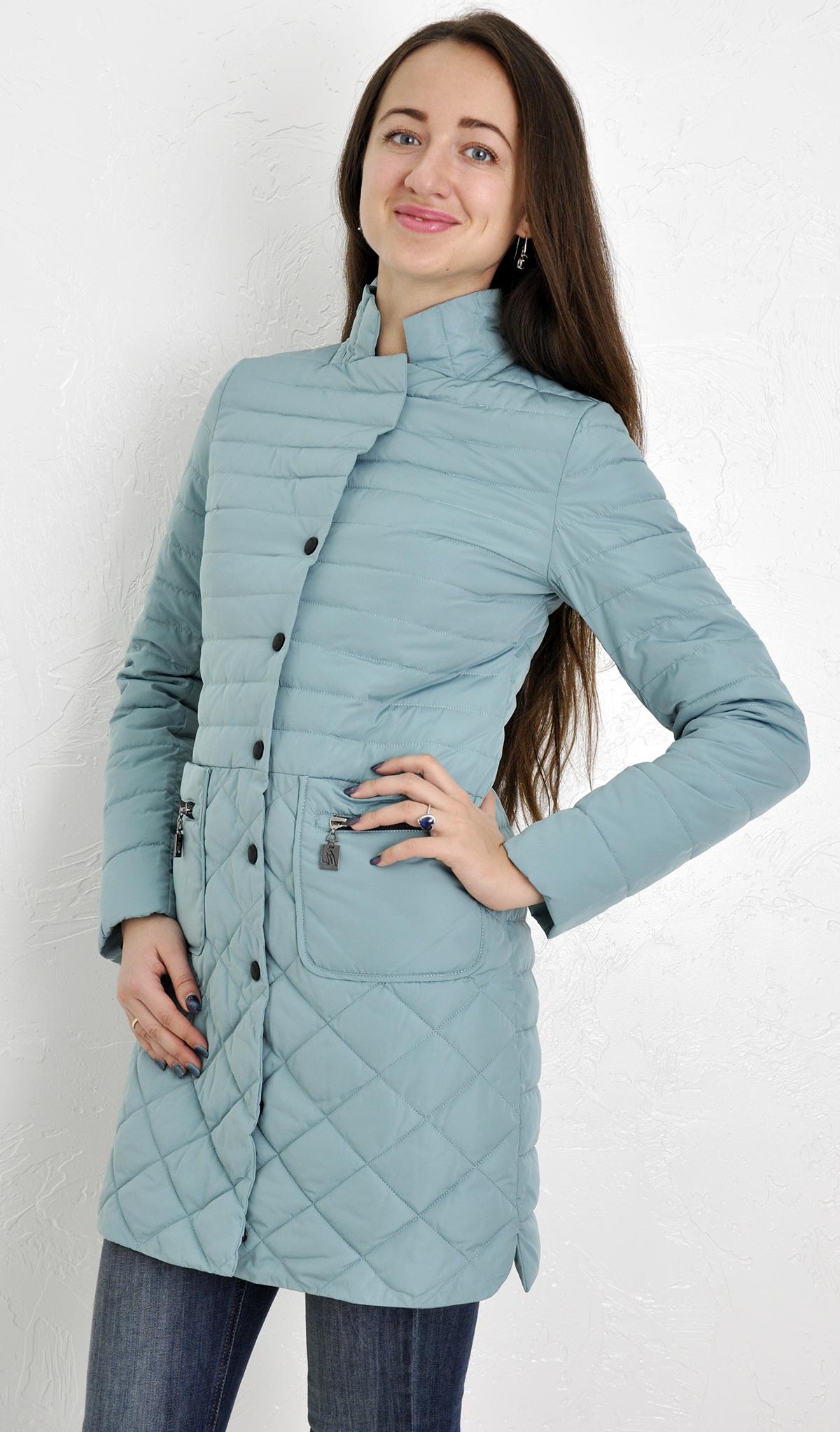 0a1c2f44d9ed Куртка женская Meajiateer оливковая 1719 длинная английский воротник  приталеная демисезонная простроченная