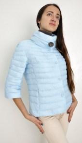 5f87be66454 Куртка женская Snowimage SIC-P120 короткая 56см голубая 3 4 рукав стойка  воротник демисезонная