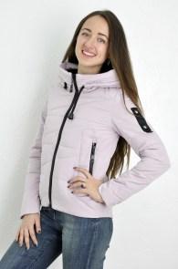 d8fddabe1e5 Куртка женская Meajiateer 1707 короткая цвета пудры (темно-розовый) с капюшоном  демисезонная на