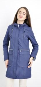 49185eba0a4 Куртка женская длинная парка синяя Snowimage SIC-P508 на планке с капюшоном  накладные карманы 90