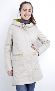 cf39b8b09d9 Куртка женская Mishele 346-1 парка бежевая с капюшоном с желтыми вставками  есть большие размеры